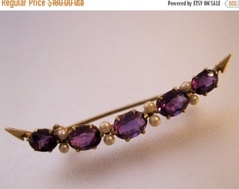 MOTHERS DAY SALE Edwardian 14k Amethyst & Seed Pearl Crescent Brooch Pin Antique Jewelry Jewellery