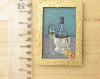 Original Miniature Painting- Still life Dollhouse or Private Collection- Small Acrylic Painting- Wine and Peaches