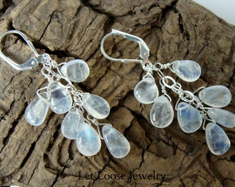 Moonstone earrings, genuine rainbow moonstone Argentium and sterling silver, long, gemstone drops cascade, Let Loose Jewelry, under 100