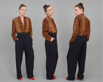 80s Black + Leopard Jumpsuit Deep V High Waist Pleated Pant Suit 1980s Animal Print Romper with Belt Medium Large M L