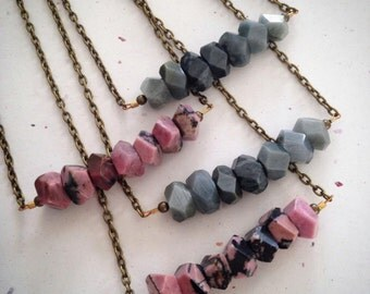 Gemstone Bar Necklace - Pink and Black Rhodonite, or Silver Gray Cat Eye