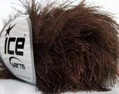 38Yd Chocolate Brown Extra Long Eyelash Yarn Ice Luxurious Fun Fur 13020 50gr