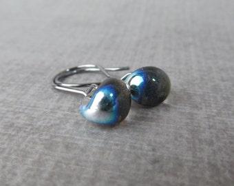 Dichroic Black Dangles, Small Black Earrings, Metallic Earrings Black, Black Lampwork Glass Drop Earrings, Oxidized Silver Wire Earrings