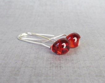 Fire Red Earrings, Small Wire Dangle Earrings Silver, Red Silver Earrings, Lampwork Earrings Red, Red Minimalist Earrings, Sterling Silver