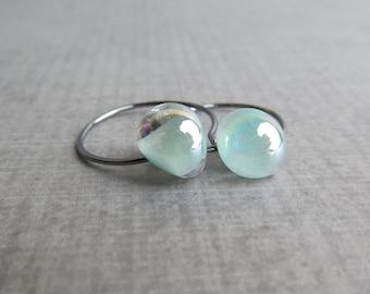Pearly Pale Green Hoops, Pearly Seafoam Green Earrings, Small Hoop Earrings, Lampwork Earrings Green, Oxidized Earrings Sterling Silver