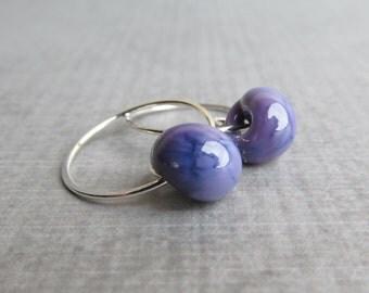 Purple Hoop Earrings, Small Wire Hoops, Purple Earrings, Purple Lampwork Earrings, Silver Hoops, Purple Glass Drop Hoops, Silver Earrings