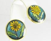 Sunflowers ,  Pressed Flower Earrings ,Real Flowers, Post Earrings,  Resin (1732)