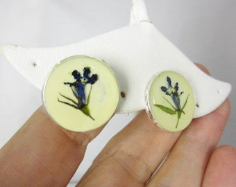 Blue Lobelia Post Earrings,   Pressed Flower Earrings ,Real Flowers, Post Earrings,  Resin (1709)