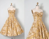 vintage 1950s dress / strapless 50s dress / mustard cotton floral / California Colony