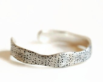 Sterling bracelet cuff with sea urchin texture, organic shape.