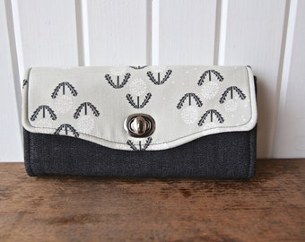 Necessary Clutch Wallet in Cotton and Steel Puff in Black with Black Denim