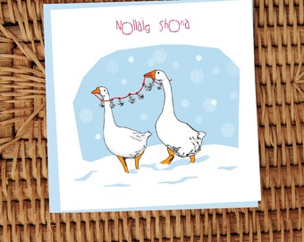 Nollaig Shona Geese with Bells Irish language illustrated card