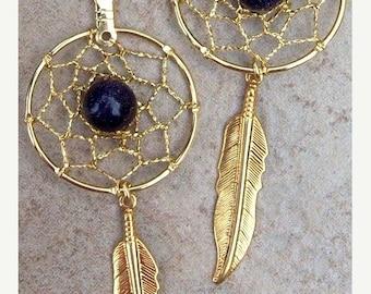 """ON SALE DREAMCATCHER Earrings 3"""" long, gold stone and gold dream catcher earrings also in silver"""