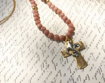 Hammered gold cross pendant