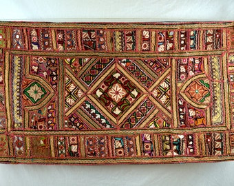 Ethnic Embroidered Vintage Mirrored Wall Hanging Indian Antique Fabric