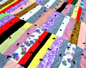 Vintage Satin Patchwork Cutter Quilt