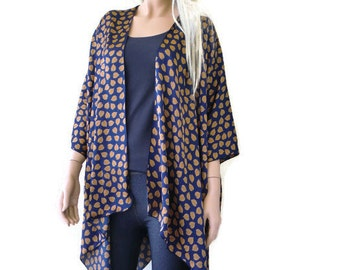 Fall Leaves satin Kimono cardigan-Navy Blue with Fall color little falling leaves