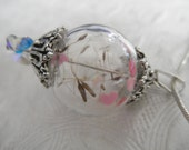 Love Is In The Air-Glass Reliquary Terrarium Sphere Orb-Dandelion Seeds-Pink & Red Hearts Pendant-Nature's Wearable Art-Symbolizes Happiness