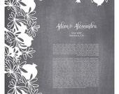 POMEGRANATE Ketubah Papercut - Bespoke Modern Ketubah Print with papercut layer