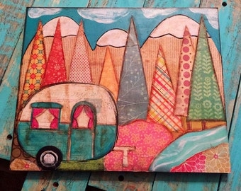 Into The Woods Mixed Media Collage Camper Road Trip Summer Time Fun