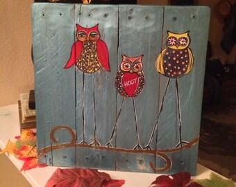 Three Little Hoots pallet sign wood sign home decor owls