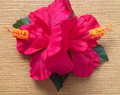 Hot Pink Double Hibiscus Hair Clip