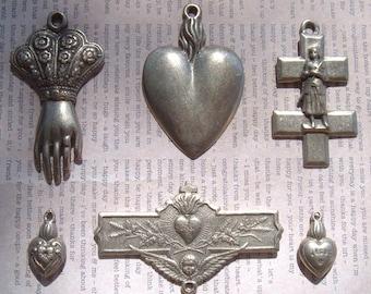 Antique White Bronze Cast Reproduction Pendants Medals Lot