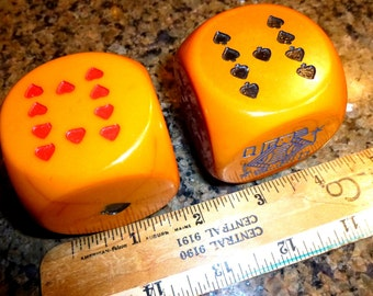 "Huge Vintage Poker Bakelite Dice Pair. Almost 2"" Square. Great Graphics. Rare Bakelite. 1940s Novelty Game. Each Dice Weighs 5.5 ounces!"