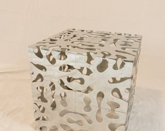 Vintage 70's Chromed Steel Abstract Cube Table