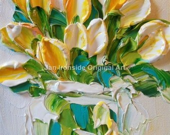 Oil Painting yellow and white Tulips Impasto Painting