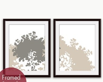 Moon Tree (Series B) Set of 2 - Art Prints  (Featured in French Grey and Gravel on white) Botanical Art Print