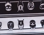 DESTASH SALE *** Black Owls On A Line Polyester PUL Fabric By The Yard 36in x 58in