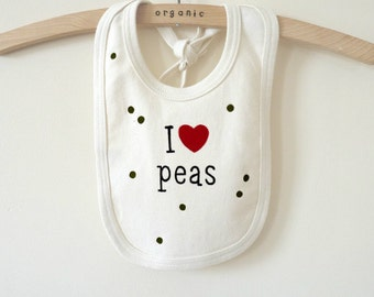 Organic Cotton Bib : SALE, Organic Baby Shower, Organic Bib, Baby Boy, Baby Girl