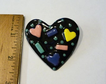 Vintage 1980s Hand Made Memphis Style Heart Pin Brooch on Etsy by APURPLEPALM