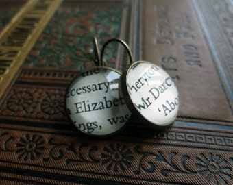 Jane Austen Earrings, Elizabeth and Darcy Earrings, Austen Gift, Book Jewellery, Literary Gift, English Lit, Teacher Gift Idea, Bronze