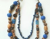 Long blue necklace, blue necklace, long bead necklace, multi strand necklace, statement necklace, boho necklace, brown bead necklace