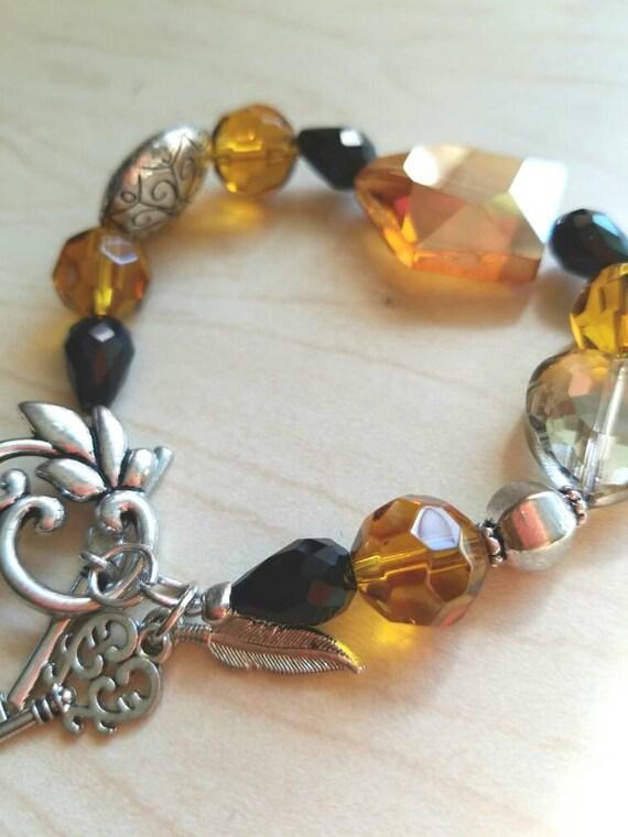 Topaz crystal bracelet, gold crystal bracelet, black crystal bracelet, chunky crystal bracelet, gold bracelet, amber crystal bracelet