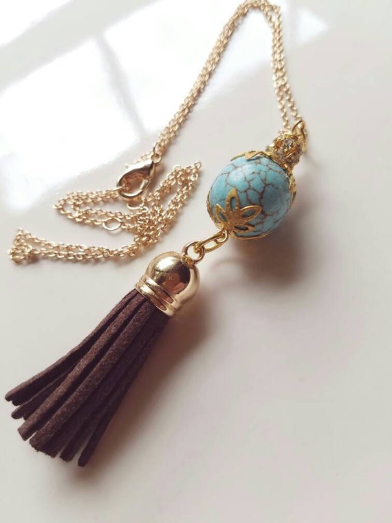 Tassel Necklace, Boho Necklace, Boho Tassel Necklace, Minimalist Necklace, Boho minimalist necklace, turquoise boho necklace, gift for her