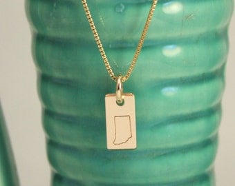 Gold Filled Indiana necklace-Hoosier state necklace-minimalist jewelry-Indianapois jewelry-gold necklace-tag you're it jewelry-made in indy