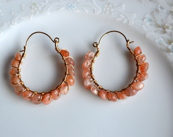 Sunstone and gold wire wrapped hoop earrings, sunstone earrings, sunstone jewelry