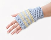 Knit wrist warmers gray yellow stripes Christmas gift