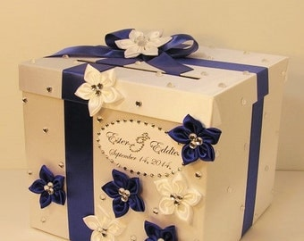 Wedding Card Box White and Royal blue Gift Card Box Money Box Holder-Customize your color