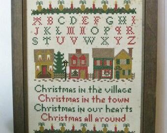 Vintage Framed ABC Sampler, 1980s Christmas Village Scene Needlepoint, Houses and Pineapples