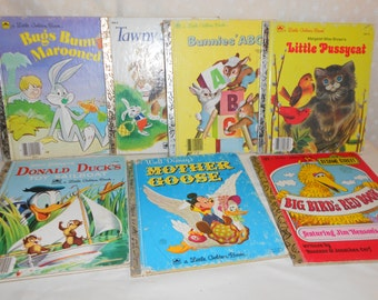 Little Golden Books set of 7 Tawny Scrawny Lion, Bugs Bunny Marooned, Bunnies' ABC and more