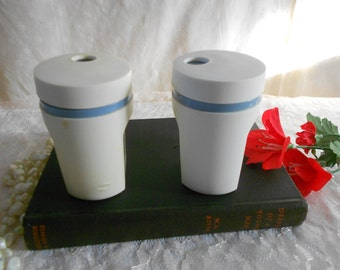 Tupperware Salt and Pepper Shakers Blue accents