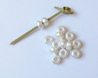 Color Trends Blanca, 9x14mm Large Hole Firepolish Rondelles, Kumihimo Beads, Faceted Beads