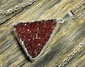 SALE - Cherry Druzy Necklace, Cherry Druzy Pendant, Druzy Jewelry, Silver Necklace, Druzy Silver Pendant, Crystal, Sterling Silver Chain