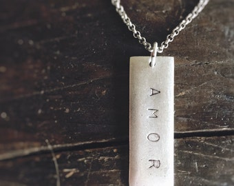 AMOR Silver Tag Necklace on Silver Rolo Chain - Your New Signature Piece - Perfect for Layering - Pretty Little Dog Tag