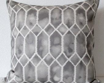 P Kaufmann Gem, Grey geo ombre decorative pillow cover