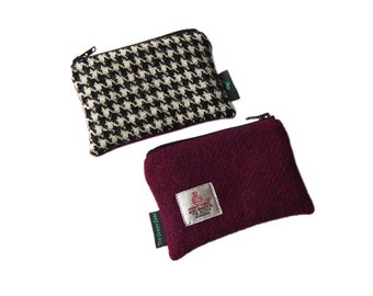 Harris Tweed two-toned coin-purse in mulberry pink and houndstooth